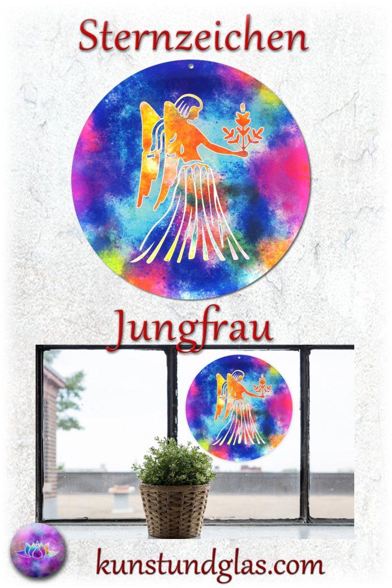 #Fensterbild ✯ #Jungfrau Nr. 08. Sonnen #Lichtfänger #Fenster #Glas #Bild #Dekoration #Astrologie #Geschenk Tierkreiszeichen - Eigenschaften: tapfer, willensstark, #fleißig, risikofreudig, missmutig, ungeduldig, gewaltbereit Material: künstlerisch gestaltetes Acrylglas mit Loch zum aufhängen. Wunderschöner künstlerisch gestalteter #Sonnenfänger mit leuchtenden Farben. Farbenprächtige #Fensterdekoration auch für den Außenbereich wie Balkon, Terrasse oder Garten sehr gut geeignet.